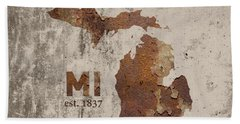 Michigan State Map Industrial Rusted Metal On Cement Wall With Founding Date Series 005 Hand Towel by Design Turnpike