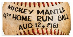Mickey Mantle 44th Home Run Baseball August 12 1961 Hand Towel