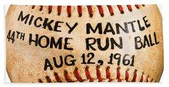 Mickey Mantle 44th Home Run Baseball August 12 1961 Bath Towel