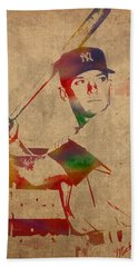 Mickey Mantle New York Yankees Baseball Player Watercolor Portrait On Distressed Worn Canvas Hand Towel