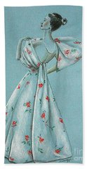 Mid-century Mode -- Drawing Of 1950's Fashion Hand Towel