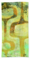 Mid Century Modern Abstract Gelli Printmaking Green Orange Hand Towel