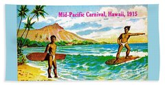 Mid Pacific Carnival Hawaii Surfing 1915 Bath Towel