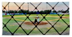 Bath Towel featuring the photograph Midnight Baseball by Benjamin Yeager