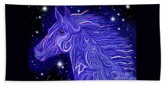 Hand Towel featuring the drawing Midnight Blue Mustang by Nick Gustafson