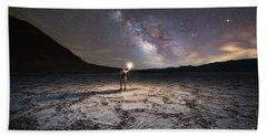 Midnight Explorer At Badwater Basin  Bath Towel