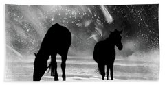 Hand Towel featuring the photograph Midnight Horses At The Beach Black And White by Peggy Collins