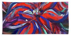 Midnight Poinsettia Bath Towel