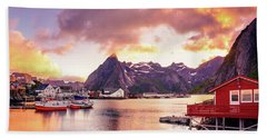 Hand Towel featuring the photograph Midnight Sun On Hamnoy by Dmytro Korol