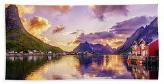 Midnight Sun Reflections In Reine Bath Towel