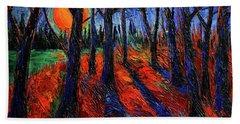 Midnight Sun Wood Modern Impressionist Palette Knife Oil Painting By Mona Edulesco Bath Towel