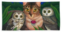 Hand Towel featuring the painting Midnight Watching - Abyssinian Cat Saw Whet Owls by Carrie Hawks