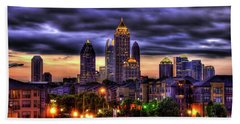 Midtown Atlanta Towers Over Atlantic Commons Art Hand Towel