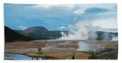 Midway Geyser Area Hand Towel by Cindy Murphy - NightVisions