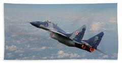 Hand Towel featuring the digital art Mig 29 - Polish Fulcrum Dedication by Pat Speirs