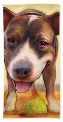 Pit Bull Paintings Hand Towels