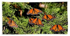 Bath Towel featuring the photograph Migrating Monarchs by AJ Schibig