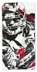 Hand Towel featuring the mixed media Mike Evans Tampa Bay Buccaneers Pixel Art by Joe Hamilton