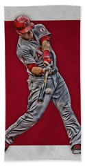 Hand Towel featuring the mixed media Mike Trout Los Angeles Angels Art 1 by Joe Hamilton