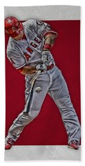 Hand Towel featuring the mixed media Mike Trout Los Angeles Angels Art 2 by Joe Hamilton