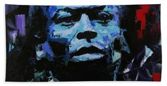 Bath Towel featuring the painting Miles Davis by Richard Day