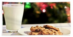 Milk And Cookies For Santa Hand Towel