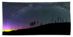 Hand Towel featuring the photograph Milky Way And Aurora Borealis by Cat Connor