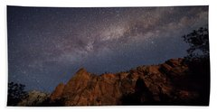 Milky Way Galaxy Over Zion Canyon Bath Towel