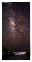 Milky Way Over Beach Access Hand Towel by Greg Mimbs