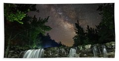 Milky Way Over Falling Waters Bath Towel