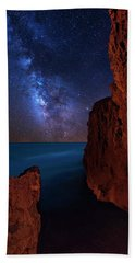 Milky Way Over Huchinson Island Beach Florida Hand Towel by Justin Kelefas