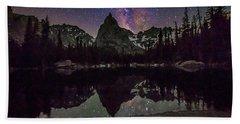 Milky Way Over Lone Eagle Peak And Mirror Lake Hand Towel