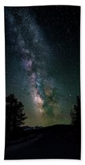 Milky Way Over Rocky Mountains Hand Towel