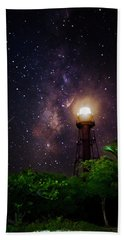 Milky Way Over The Sanibel Lighthouse Hand Towel by Greg Mimbs