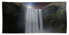 Milkyway Arch Over Raging Waterfall By Adam Asar 3aa Hand Towel