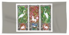Hand Towel featuring the drawing Millefleurs Triptych With Unicorn, Cranes, Rabbits And Dove by Lise Winne