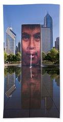 Millennium Park Fountain And Chicago Skyline Hand Towel
