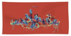 Hand Towel featuring the mixed media Milwaukee Watercolor Skyline by Marian Voicu
