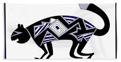 Hand Towel featuring the digital art Mimbres Mountain Lion by Vagabond Folk Art - Virginia Vivier