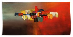 Bath Towel featuring the painting Mindful - Abstract Art by Carmen Guedez
