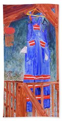 Bath Towel featuring the painting Miner's Overalls by Sandy McIntire