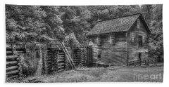 Bath Towel featuring the photograph Mingus Mill Black And White Mingus Creek Great Smoky Mountains Art by Reid Callaway