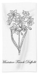 Miniature Daffodil Botanical Drawing Black And White Hand Towel