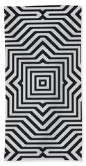 Minimal Geometrical Optical Illusion Style Pattern In Black White T-shirt  Bath Towel
