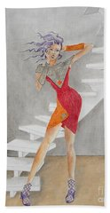 Minimalist Madness -- Whimsical Fashion Drawing Bath Towel