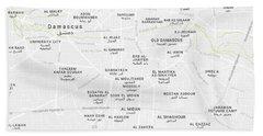 Minimalist Modern Map Of Downtown Damascus, Syria 2 Bath Towel