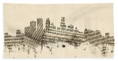 Minneapolis Minnesota Skyline Sheet Music Cityscape Hand Towel