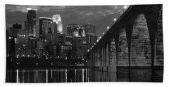 Minneapolis Stone Arch Bridge Bw Hand Towel