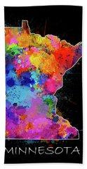 Minnesota Map Color Splatter 2 Hand Towel