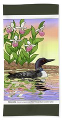Minnesota State Bird Loon And Flower Ladyslipper Hand Towel